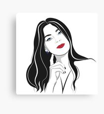 Portrait of a girl with long hair  Canvas Print