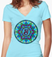 SCI - String Cheese Incident - Star - Geometric Mandala - Psychedelic - Trippy Women's Fitted V-Neck T-Shirt