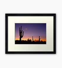 Early Morning Southwest USA Desert Moon Glow Framed Print