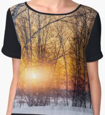 Birch trees and setting sun on the edge of a winter forest Women's Chiffon Top