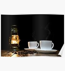 Cups of hot coffee and scattered grains of coffee on the table and kerosine lamp Poster