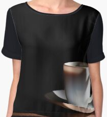 White cup of hot coffee on the table and a deep dark background Chiffon Top