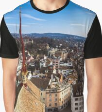Zurich aerial view. Switzerland. Wide-angle HD-quality panoramic view. Graphic T-Shirt