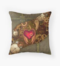 Steampunk, heart with wings Throw Pillow