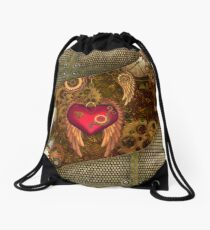 Steampunk, heart with wings Drawstring Bag