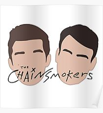 The Chainsmokers Faces illustration Poster