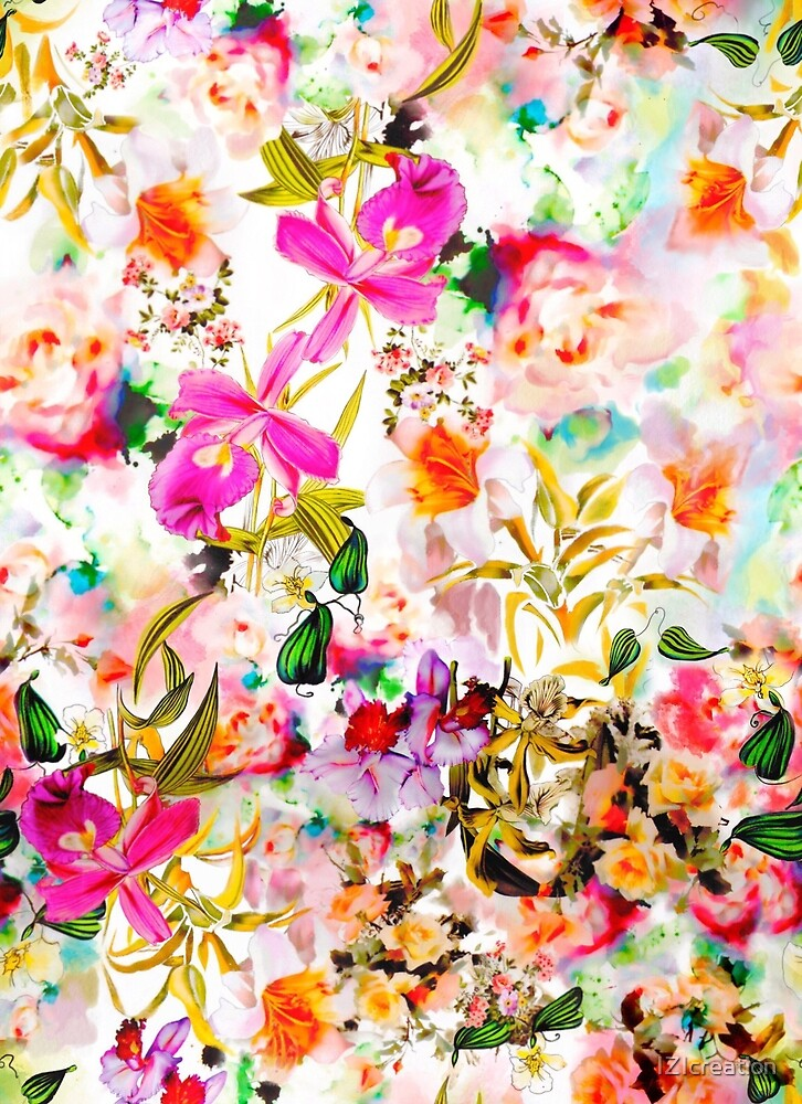Cattleya orchid and flower ornament with watercolor brush strokes.  by IZIcreation
