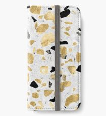 Classy gold vintage marble abstract terrazzo iPhone Wallet/Case/Skin