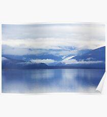 mountain blue lake lanscape Poster