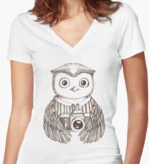Drawing owl with camera Women's Fitted V-Neck T-Shirt