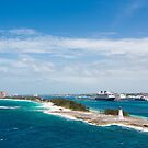 Bahamas Lighthouse with Nassau and Resort in Background by dbvirago