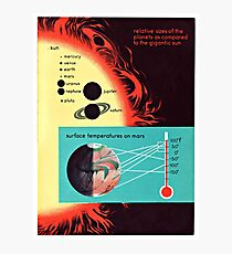 Vintage Solar System Science Chart Mars Temperature Photographic Print