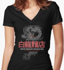 White Dragon Noodle Bar - ½ White Cut Cantonese Variant Women's Fitted V-Neck T-Shirt