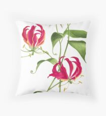 Gloriosa rothschildiana  -  Flame Lily Throw Pillow