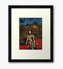 Selena Red Car Gomez Flowers Framed Print