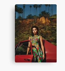 Selena Red Car Gomez Flowers Canvas Print