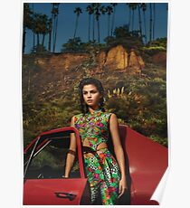 Selena Red Car Gomez Flowers Poster