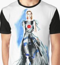 fashion #49: a girl in black dress with red round on chest Graphic T-Shirt