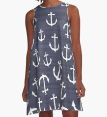 White Anchors On Dark Blue Stripes A-Line Dress