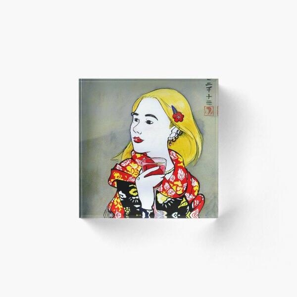 Utamaro Girl with Wine Acrylic Block