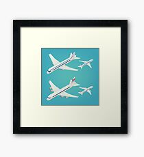 Passenger Airplane. Passenger Airliner. Airplane freight. Isometric Concept. Transportation Mode. Aircraft Vehicle. Set of Planes Framed Print