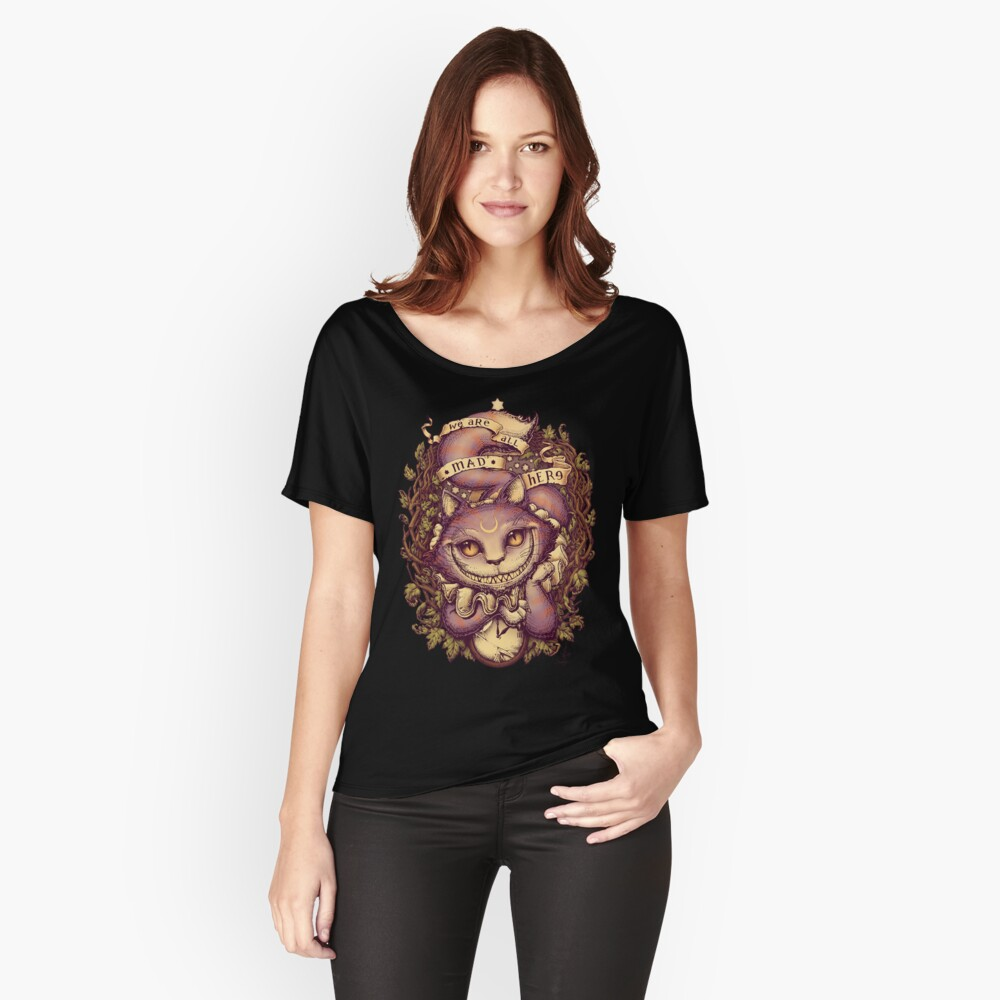 Camiseta ancha para mujerGATO DE CHESHIRE Delante