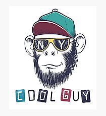 cool monkey chimpanzee dressed in sunglasses Photographic Print