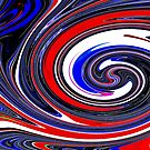Swirls in red white and blue by Adriana Zoon