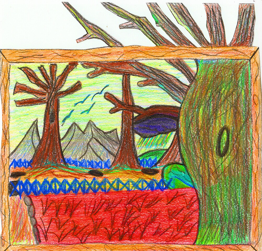 Kindergartener's Rendering of the Barren Land After the Great War c. 2007 Robert Buehner by Robert  Buehner