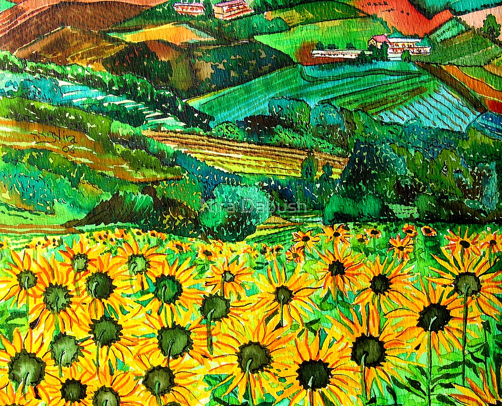 Sunflowers FIeld as Part of an Italian Village by Nira Dabush
