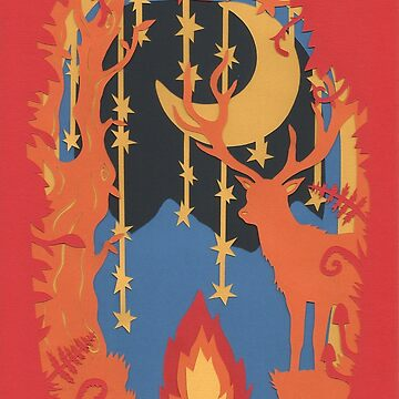 papercut stag with fire by andreawillette
