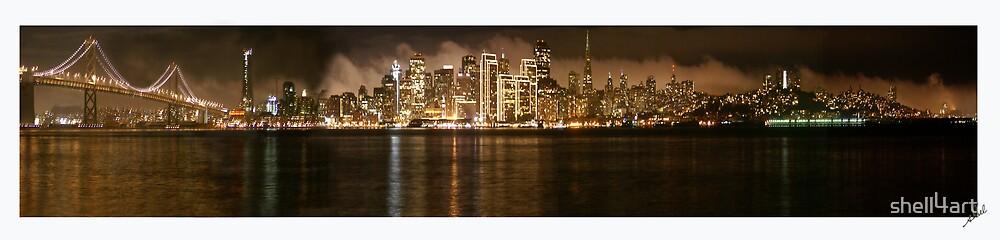 San Francisco Night Light Panorama by shell4art