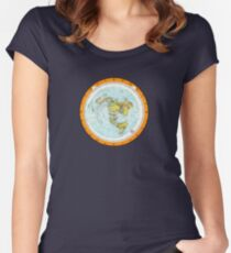 Flat Earth Map - (Azimuthal Equidistant Projection Map) - Beautiful Women's Fitted Scoop T-Shirt