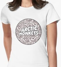 Arctic Monkeys | B&W Floral Circle Logo [white] Womens Fitted T-Shirt