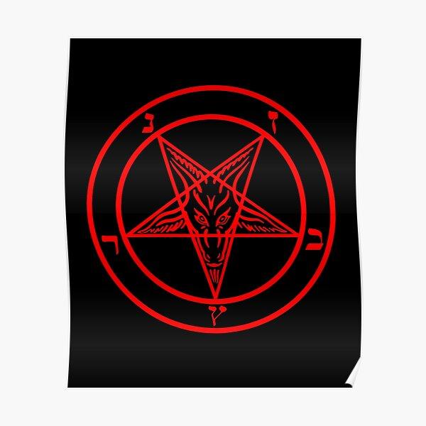 Inverted Pentagram with Baphomet Goat Poster