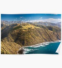 landscape with hills, ocean and wind turbines Poster