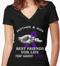 Mom and son best friends for life, fighter against epilepsy Women's Fitted V-Neck T-Shirt