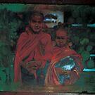 little monks- arcylic on wood by wingyinchan