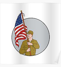 American Soldier Holding USA Flag Circle Drawing Poster