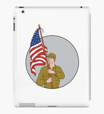 American Soldier Holding USA Flag Circle Drawing iPad Case/Skin