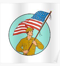 American Soldier Waving USA Flag Circle Drawing Poster
