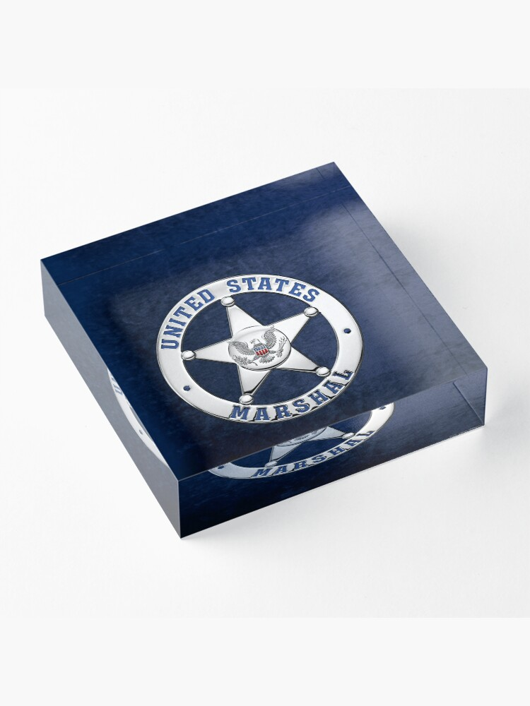 Alternate view of U.S. Marshals Service - USMS Badge over Blue Velvet Acrylic Block