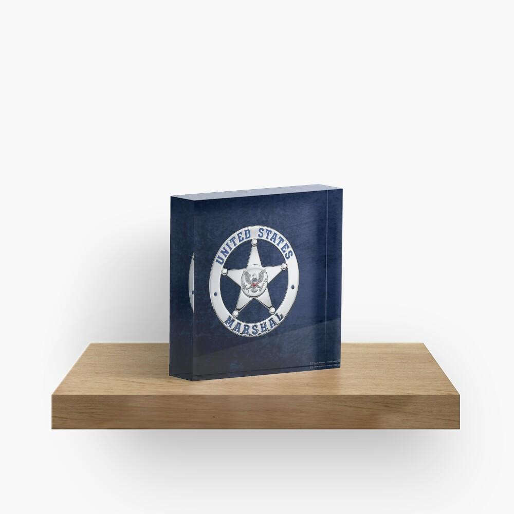 U.S. Marshals Service - USMS Badge over Blue Velvet Acrylic Block