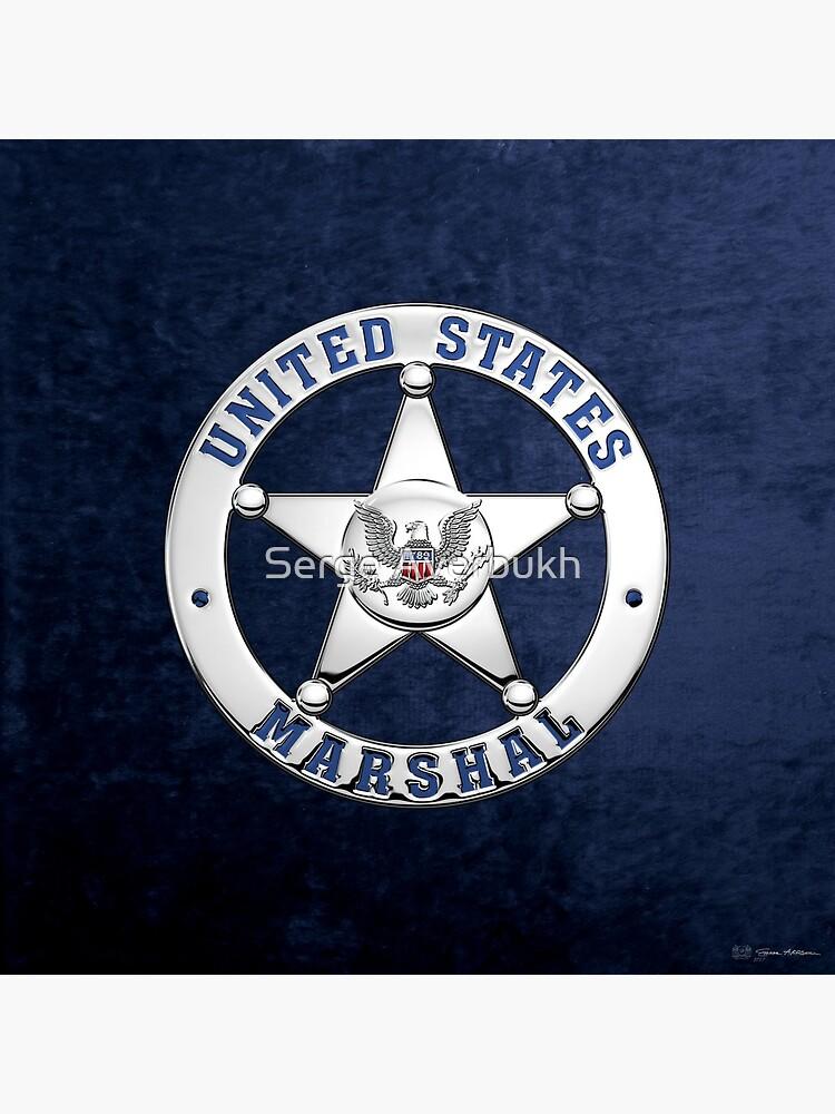 U.S. Marshals Service - USMS Badge over Blue Velvet by Captain7