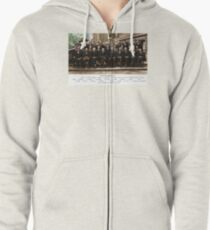 Colorized - Solvay Conference 1927. Einstein, Curie, Bohr and more. Zipped Hoodie