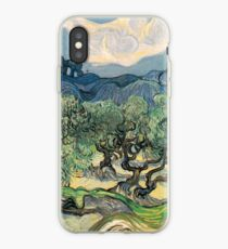 Olive Trees by Vincent van Gogh. Famous landscape oil painting. Van Gogh's unique swirling painting style. iPhone Case