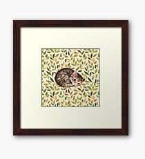 Sleepy cat. Watercolor pattern Framed Print