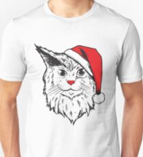Funny Christmas Santa Claus Hat Cat Holiday  Unisex T-Shirt