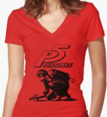 The Protagonist Persona 5 Women's Fitted V-Neck T-Shirt