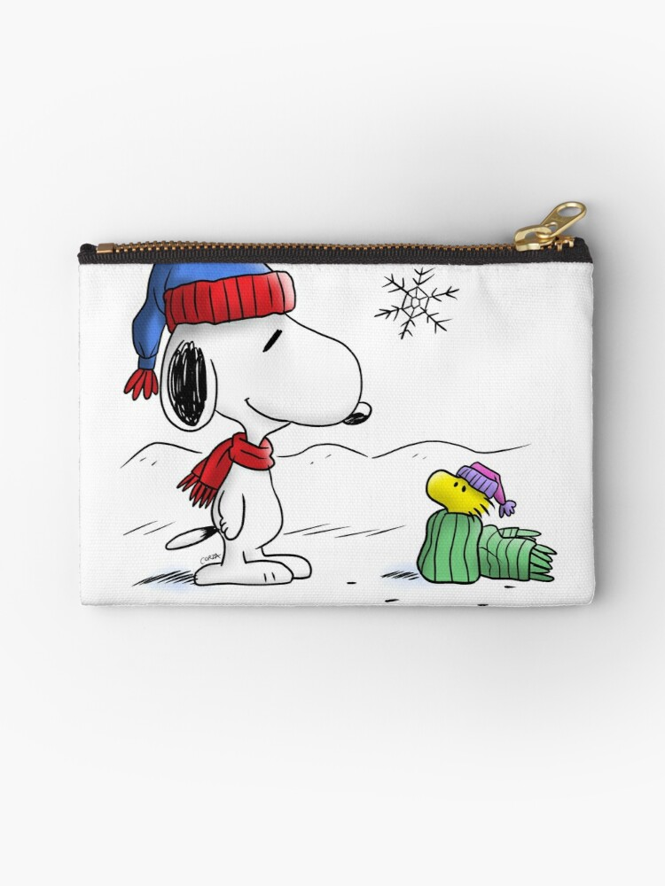 Winter Snoopy Woodstock Peanuts Studio Pouches By Corzamoon